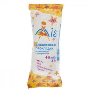 МИС ежедневные прокладки из целлюлозы с абсорбентом 20 шт. Цена указана за 4 пачки!